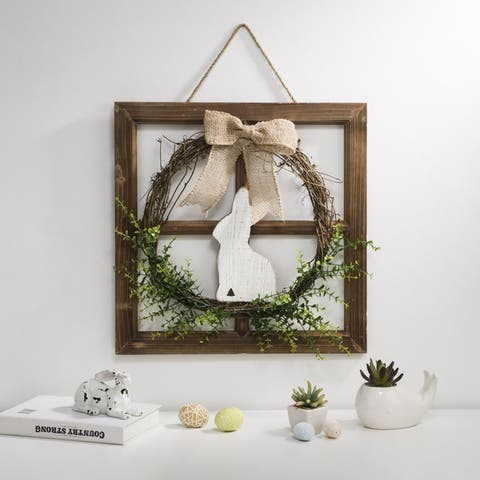 """Glitzhome 18""""H Wooden Frame Easter Wall Decor with Wreath"""
