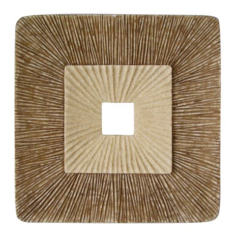 Square Sandstone Wall Decor with Ribbed Details, Large, Brown and Beige - 6 x 12
