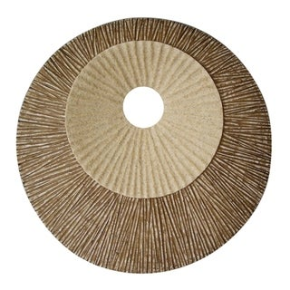 Round and Ribbed Double Layer Sandstone Wall Art, Small, Brown and Beige