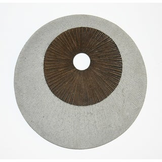 Round and Ribbed Double Layer Sandstone Wall Art, Medium, Brown and Gray