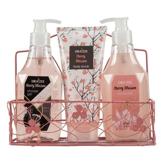 Draizee Spa Luxury Skin Care Set Lovely Fragrance Gift Bag for Women (Cherry Blossom, 3 Piece) Christmas Gift for Mom Girlfriend