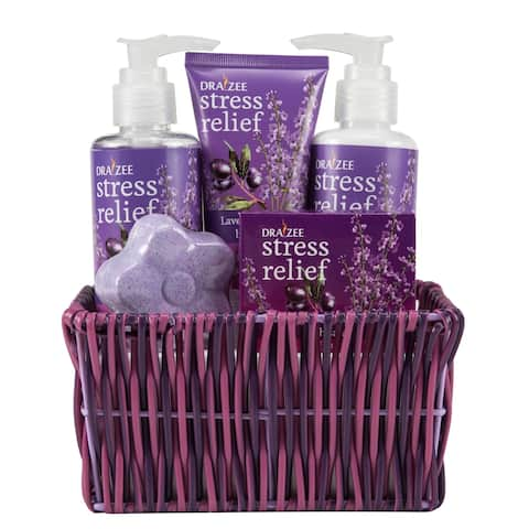Draizee Spa Luxury Skin Care Set Lovely Fragrance Gift Bag for Women (Lavender and Grape, 5 Pieces) Christmas Gift for Mom