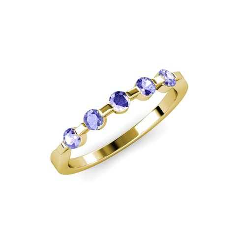 Trijewels Tanzanite 1/2 ctw Womens 5 Stone Wedding Band 14KY Gold