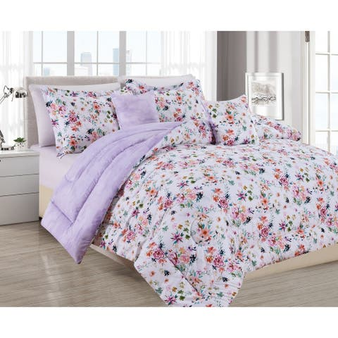 BARBARIAN by Barbra Ignatiev Digital Printed Wild Love Floral Lilac 4/5pc Comforter Set