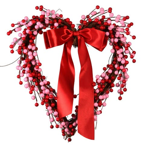 """16"""" Berries and Ribbon Valentine Heart"""