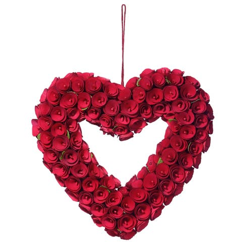 """16"""" Wood Curl Roses Valentine Heart"""