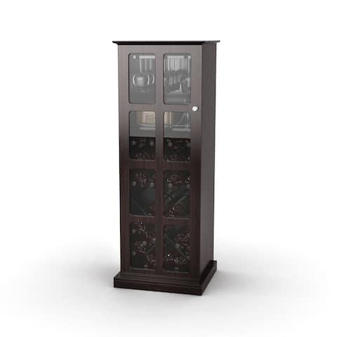 Atlantic Windowpane Espresso Wine Rack Liquor Cabinet