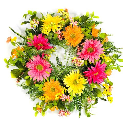 Pink/Yellow/Orange Artificial Gerber Daisy Wreath on Natural Twig Base 24""