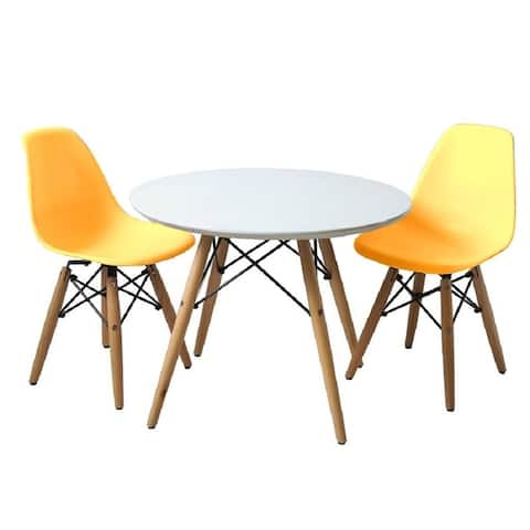 Kids Set Table & 2 Chairs ,Available in multiple colors with wood legs