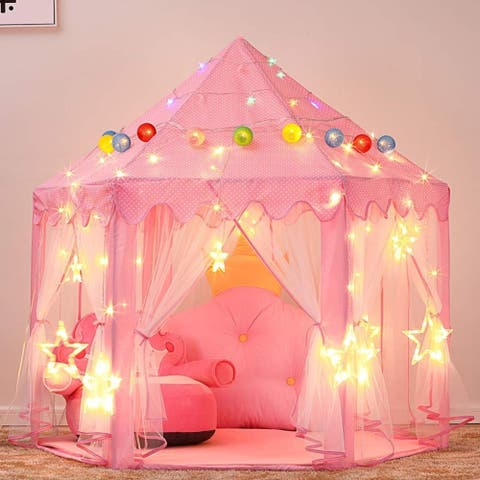 Princess Castle Play Tent for Girls with LED Star String Lights Pink - 1