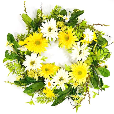 Yellow and White Artificial Daisy Wreath on Natural Twig Base 24""