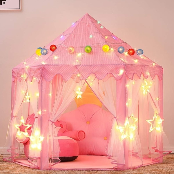 Princess Castle Play Tent with LED Star String Lights(Pink) 2PACK - 2. Opens flyout.