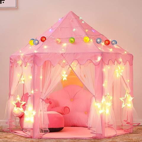 Princess Castle Play Tent for Girls with LED Star String Lights 3 Pack