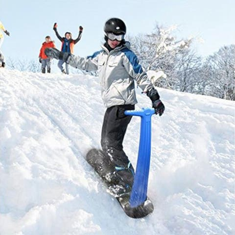 Durable Sturdy Snow Scooter with Snowboard-Type Base,Easy Grip BLUE