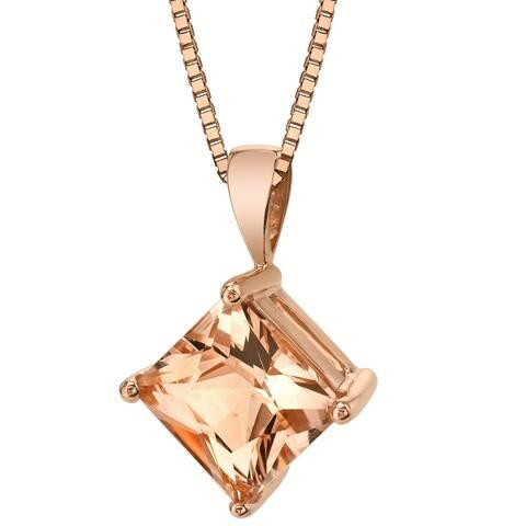 """14K Rose Gold 1.25 ct Princess Cut Morganite Pendant Necklace, 18"""""""
