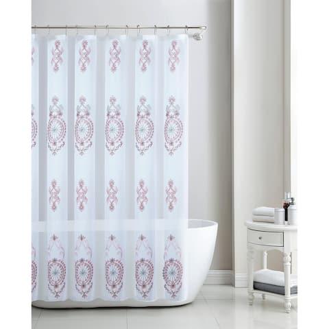 Zena Damask Embroidered Shower Curtain