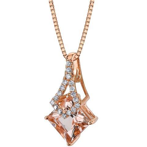 """14K Rose Gold 2.25 ct Princess Cut Morganite and Diamond Pendant, 18"""""""