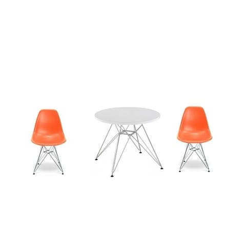 Eiffel Kids Set 2 Chairs and 1 Table with Chrome Legs