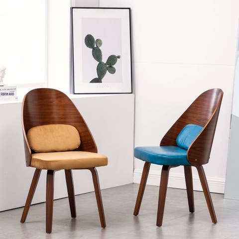 Welsis Padded Seating & Wood Dining Side Chair Curved Back (Set 2)