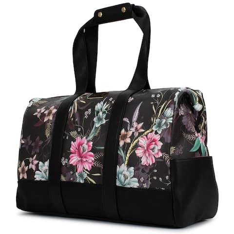 Badgley Mischka Essence Travel Tote Weekender Bag (Winter Flowers)