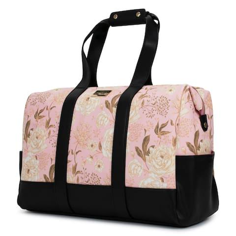 Badgley Mischka Essence Travel Tote Weekender Bag (Pink Floral)