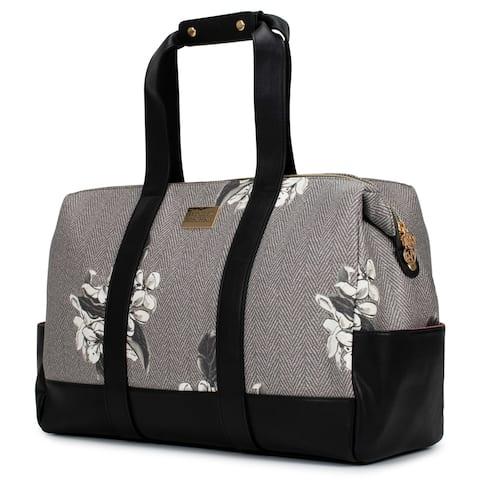 Badgley Mischka Essence Travel Tote Weekender Bag (Herringbone)