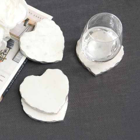 Aurora Home Heart-Shaped Marble Coasters - Set of 4