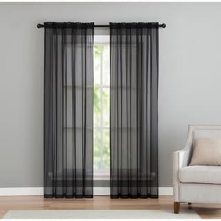 Porch & Den Pleasantview Sheer Microfiber Window Curtain Panel Set 2-Pack or 4-Pack