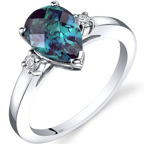 14K White Gold 2.25 ct Pear Shape Created Alexandrite and Diamond Ring Size - 7
