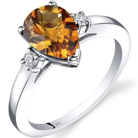 14K White Gold 1.5 ct Pear Shape Citrine and Diamond Ring Size - 7