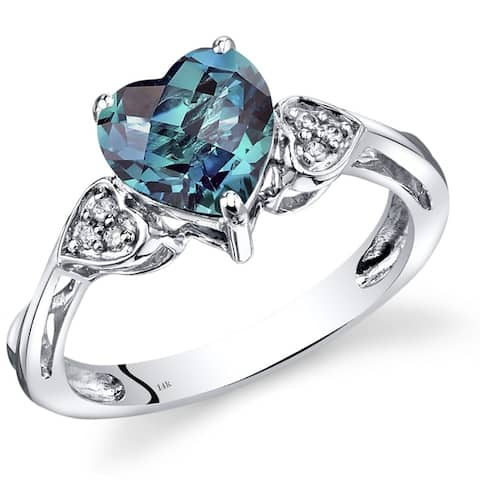 14K White Gold 2.25 ct Heart Shape Created Alexandrite and Diamond Ring Size - 7