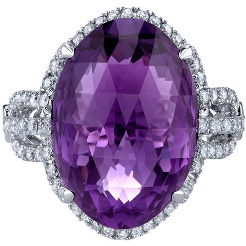 14K White Gold 11.75 ct Designer Cut Amethyst and Diamond Ring Size - 7