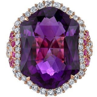 14K Rose Gold 15.25 ct Designer Cut Amethyst Diamond and Pink Sapphire Ring Size - 7