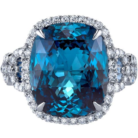 14K White Gold 13.25 ct Designer Cut London Blue Topaz and Diamond Ring Size - 7