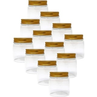 Lavo Home Supply Straight Sided Glass Cosmetic Jars- Gold Metallic Lids - Cases of 12 - Gourmet Preserve Jars (2 fl. oz, 50)