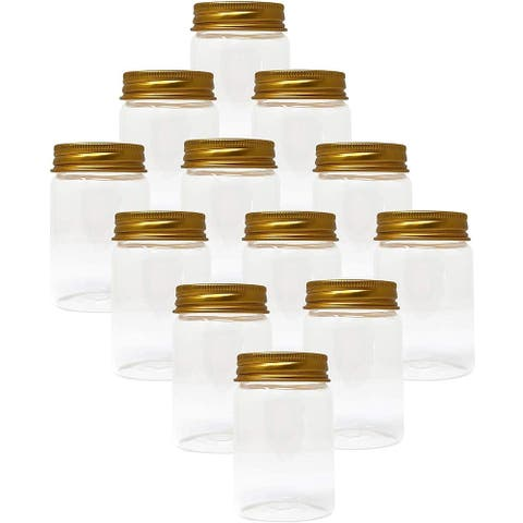 Lavo Home Supply Straight Sided Glass Cosmetic Jars - Gold Metallic Lids - Cases of 12 - Gourmet Preserve Jars (3 fl. oz, 70)