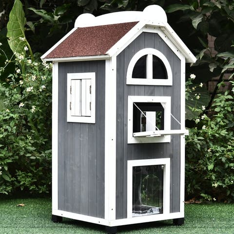 PawHut Solid Wood Cat House Condos Natural Water Proof Outdoor 2-Floor Pet Shelter