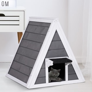 PawHut Solid Cat House with 2 Doors to Condo, Constructed of Natural Fir Wood, and Waterproof Paint Indoor/Outdoor