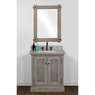 Rustic Style 31 inch Single Sink Bathroom Vanity with Coastal Sand Marble Top-No Faucet