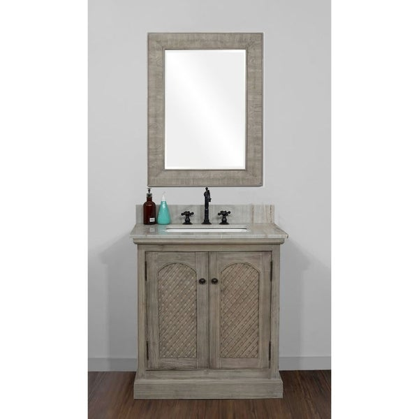 Rustic Style 31 inch Single Sink Bathroom Vanity with Coastal Sand Marble Top-No Faucet. Opens flyout.