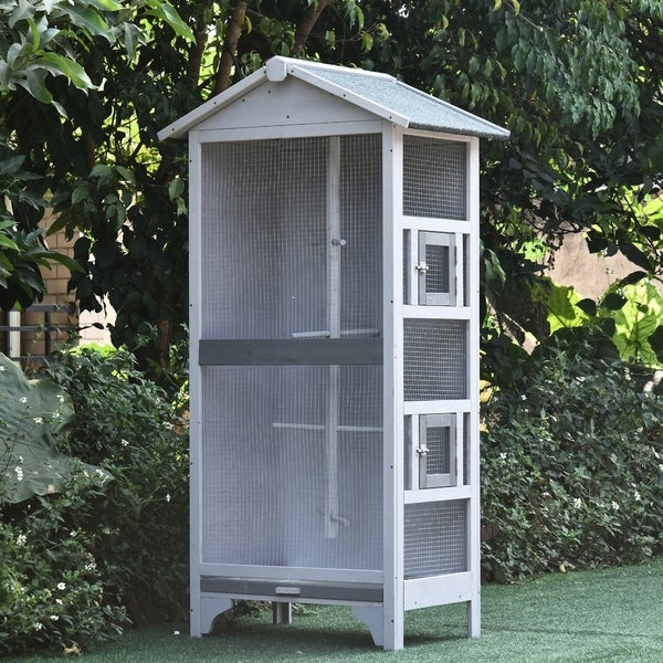 PawHut Wooden Outdoor Aviary Bird Cage Large Play House w/Removable Bottom Tray. Opens flyout.