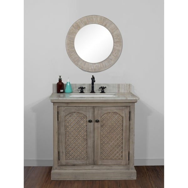 Rustic Style 36 inch Single Sink Bathroom Vanity with Coastal Sand Marble Top-No Faucet