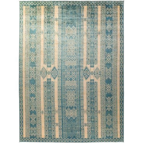Bohemian Tribal One-of-a-Kind Hand-Knotted Area Rug - 9 x 12