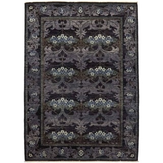 Contemporary Patterned & Floral One-of-a-Kind Hand-Knotted Area Rug - 6 x 9