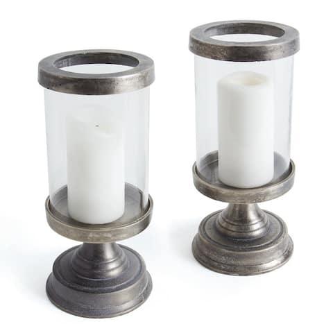 Lovett Pewter Aluminum Hurricane (Set of 2)