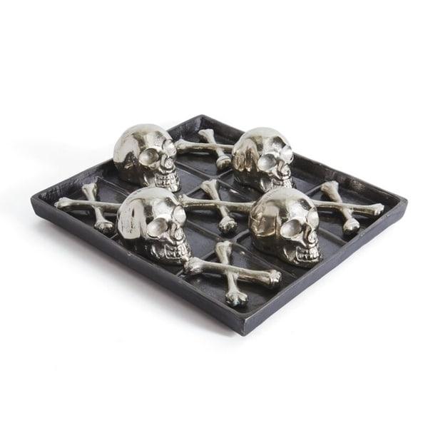 Skull and Bones Brushed Nickel Tic Tac Toe