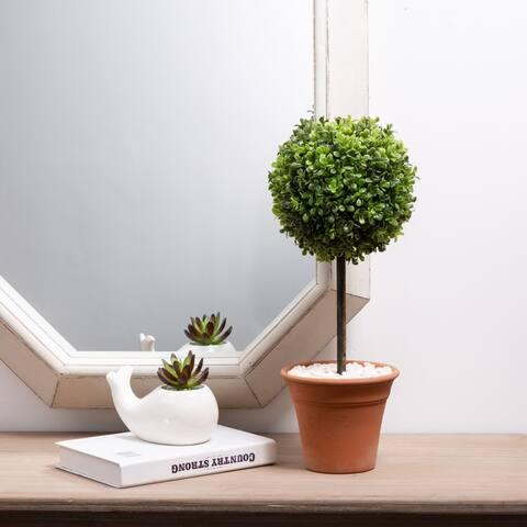 """Glitzhome 18""""H Artificial Boxwood Topiary Plant"""