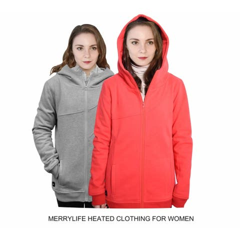 MERRYLIFE Women Electric Heated Hoodie USB Port Charge