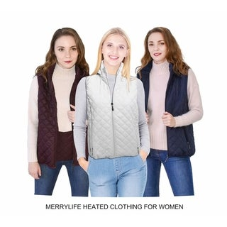 MERRYLIFE Women Electric Heated Vest USB Port Charge