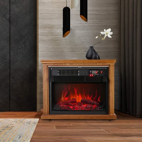 Ainfox Digital Electric Fireplace Stove Adjustable Infrared Heater